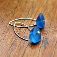 Blue (Dark, Translucent) Ice Chip Resin Earrings Ice Chips, Resin, Stud Earrings, Dark, Blue, Jewelry, Jewlery, Jewerly, Stud Earring