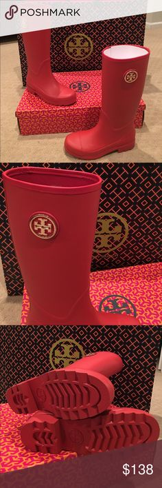NIB Tory Burch Sarah rainboots☔️ NIB Tory Red - Tory Burch Sarah logo rainboots. Fun and fashionable to look fabulous on a rainy day ☔️ ☀️Gold emblem. Never been worn- mint condition. Size is 8 but they fit 8-8.5 size. Encourage you to google search these boots. You won't find any at this price. Even used ones are more than this. Especially minus the posh commission. Tory Burch Shoes Winter & Rain Boots
