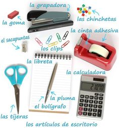 Los artículos de escritorio ✿ Spanish Learning/ Teaching Spanish / Spanish Language / Spanish vocabulary / Spoken Spanish ✿ Share it with people who are serious about learning Spanish!