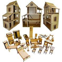 bc075890b Casa de Bonecas Escala Polly Modelo Mirian Sonhos - Darama. Casa Casinha De  Boneca Polly Com 27 Mini Móveis Mdf Cru ...