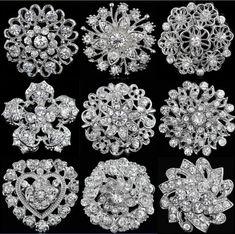 Wedding Bridal Silver Rhinestone Crystal Pearl Brooches Brooch Bouquet Pin Party
