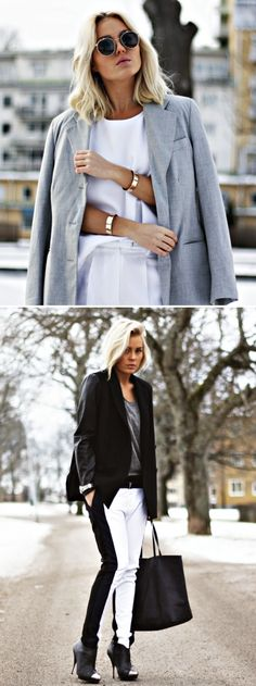 ANGELICA BLICK SWEDISH BLOGGER INSPIRATION SILVER CLEAN WRIST CUFFS SIDE STRIPE PANTS METAL CAP TOE BOOTS ROUND MIRRORED SUNGLASSES GREY GRAY JACKET OVER THE SHOULDERS BASICS WINTER WHITE leather sleeves