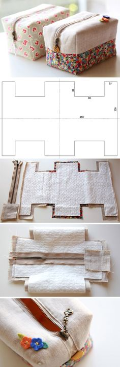How to make cute block zipper pouch / handbag. DIY photo tutorial and template pattern. http://www.handmadiya.com/2015/11/block-zipper-pouch-tutorial.html