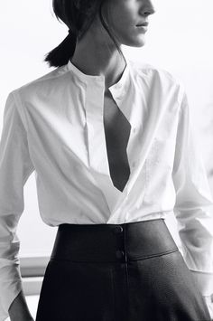 Hermès - Vestiaire d'Hiver 2014. Officer collar shirt in cotton batiste, biker trousers in grained deerskin #hermes #womenswear #fashion #hermesfemme