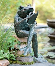 This Reading Frog Figurine Is Perfect! #zulilyfinds. Frog StatuesGarden ...