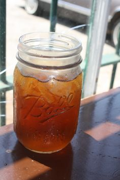 Sweet tea in a Mason Jar (this one is actually a Ball jar)