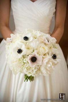 anemone, peony and ranunculus bouquet.