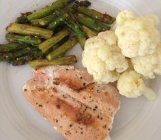 Coliflor,esparragos y Salmon ❤️