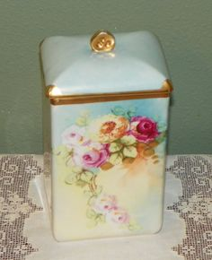 Antique Limoges Canister Hand Painted Covered Box Holder Porcelain Roses Turqoise - 126$ on Etsy (100€)