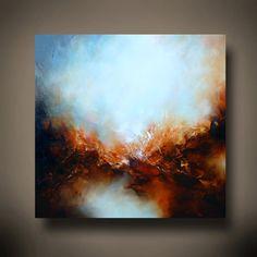 Grande toile abstrait paysage peinture à par SimonkennysPaintings