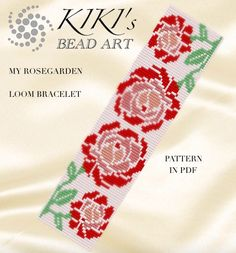 Bead loom pattern, My rose garden LOOM bracelet pattern for the spring in PDF - instant download
