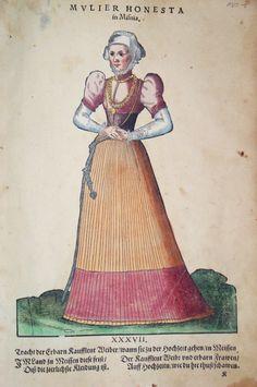 Hans Weigel - MEISSEN: Mulier Honesta in Misnia. Tracht der Erbarn Kaufleut Weiber / wann sie zu der Hochzeit gehen / in Meissen  1577 http://www.pahor.de/data/product-list/53484.jpg