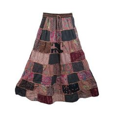Mogulinterior Womens Gypsy skirt Brown patchwork Hippie Boho Long Maxi Vintage Style Peasant Skirts