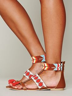 Free People Warrior Sandal. Beautiful beaded boho lovelies. Especially enamored with the little toe tassels!