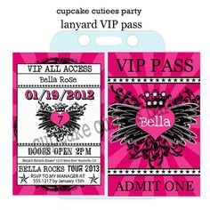 Rock Star Royalty VIP lanyard Badge Custom by CupcakeCutieesParty