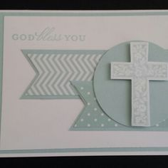 Stampin' Up! Boy's christening card soft sky. Crosses of hope. #luckycardcreations #stampinup #christeningcard