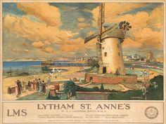 TRAVEL-ENGLAND-LANCASHIRE-LYTHAM-ST-ANNES-WINDMILL-ART-PRINT-POSTER-BB9731
