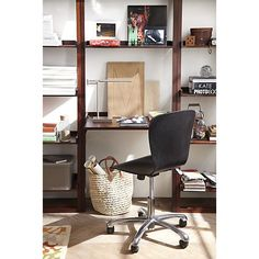 """Sloane Java Leaning Desk with Two 25.5"""" Bookcases 