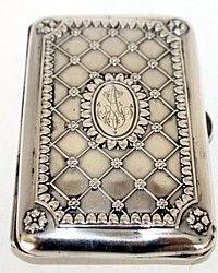 Antique Continental Silver Gilt Cigarette or Card Case Monogrammed