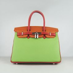 Unique Hermes Red Orange Green Colour Lichee Pattern Leather Birkin 30 Silver Hardware Bag
