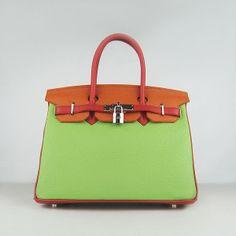 Unique Hermes Red Orange Green Colour Lichee Pattern Leather Birkin 30  Silver Hardware Bag Soldes Chaussures bcf63ce322e
