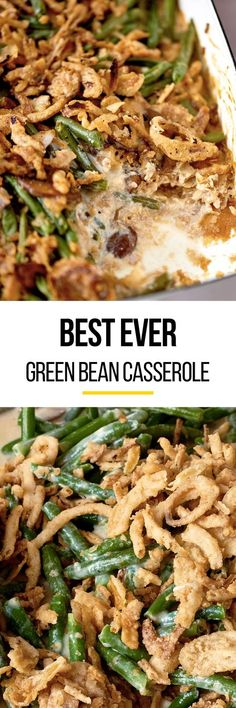 How To Make THE BEST Classic Green Bean Casserole Recipe from scratch. No campbells cans here, which makes it more healthy, but just as easy. Perfect for Thanksgiving, and easy too! We use frozen green beans & fresh mushrooms. Obviously, we don't skip the french's fried onions on top! Homemade side dishes like this are PERFECT comfort food for all holidays celebrations. They're just not complete without the sides!