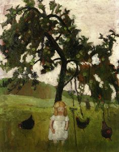 Elizabeth with Hens under an Apple Tree (Paula Modersohn-Becker - 1902)