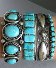 cool Vintage Old Pawn Silver & Turquoise Native American Cuff Bracelets... by post_link
