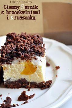 Sernik na ciemnym spodzie z brzoskwiniami Baklava Cheesecake, Lemon Cheesecake Recipes, Chocolate Cheesecake Recipes, Polish Recipes, Dessert Recipes, Desserts, Other Recipes, No Bake Cake, Amazing Cakes