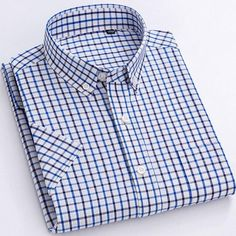 Men's Casual Short-Sleeve Checkered Shirts Standard-fit Summer Thin So – Ifomt Dickies Shorts, Plaid Fabric, Hats For Men, Types Of Shirts, Casual Shirts, Men Casual, Mens Fashion, Plaid Dress, Cotton