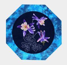 Columbine American Wildflowers Quilt Pattern Sashiko & Applique Design