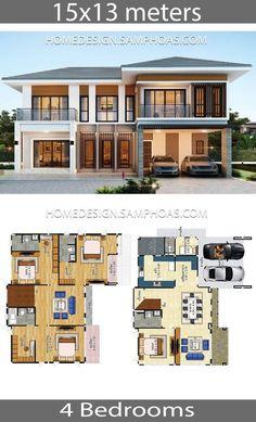 House Plans Idea with 4 Bedrooms – Home Ideas – House Design Modern House Floor Plans, Sims House Plans, House Layout Plans, Dream House Plans, House Layouts, House Plans Design, Cool House Plans, 4 Bedroom House Designs, 4 Bedroom House Plans