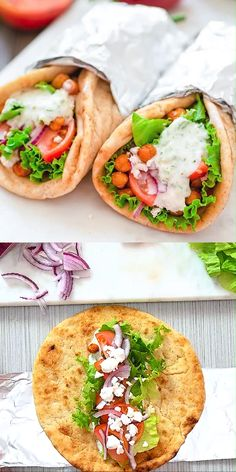 Vegetarian Gyro – These Vegetarian Gyros make a quick and unbelievably tasty version of the popular Greek sandwich. E – Vegetarian Gyro – These Vegetarian Gyros make a quick and unbelievably tasty version of the popular Greek sandwich. Greek Sandwich, Make A Sandwich, Sandwich Ideas, Easy Dinner Recipes, Easy Meals, Dinner Ideas, Easy Recipes, Wrap Recipes, 10 Min Meals