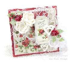 """Today I am sharing this Valentine's card made with the Pion Design collection """"To My Valentine"""". I just adore the rich reds, the elegant rose patterns and the vintage images! Valentine Day Cards, Xmas Cards, Diy Cards, Happy Valentines Day, Vintage Cards, Vintage Paper, Vintage Images, Paper Design, Design Cards"""