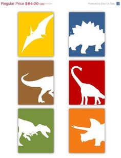 SALE Dinosaur Nursery Wall Art 8x10 Set of Six by LittlePergola, $63.00