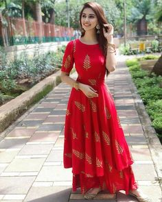 Red anarkali kurti and palazzo now in store best color and outfits. Party Wear Indian Dresses, Indian Gowns Dresses, Indian Fashion Dresses, Dress Indian Style, Indian Designer Outfits, Maxi Dresses, Indian Dresses For Women, New Designer Dresses, Dresses With Sleeves