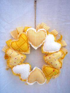 yellow heart wreath by suzette Valentine Wreath, Valentine Decorations, Valentine Crafts, Christmas Crafts, Printable Valentine, Valentine Box, Valentine Ideas, White Christmas, Sewing Crafts