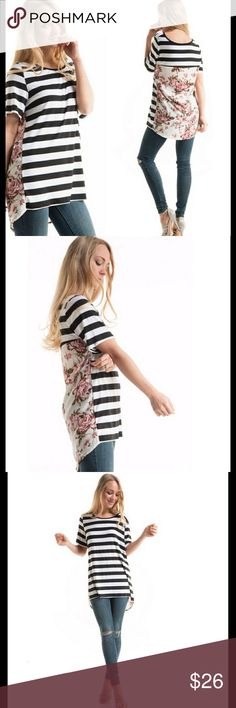 Womans Top Womans striped floral print with a contrast back tunic. Super cute! Tops Tunics