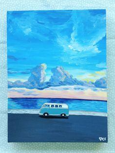 Vw Kombi van surf art Volkswagen campervan by KookookachooArt
