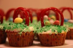 I've made these before.  Just dye coconut green.  The twizzler does not stay in tact for long.  So, serve them rigth after you make them. :)