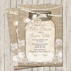 Rustic, Burlap and Lace, Baby Shower Invitation, Invite, Gold, Ivory, Shabby, Sprinkle, Printable, Customize, 5x7