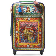 Dolce & Gabbana Carretto printed textured-leather travel trolley (£3,450) ❤ liked on Polyvore featuring bags and luggage