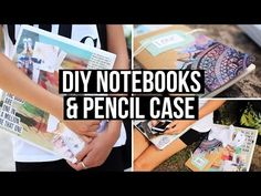 I LOVE THE WATER COLOR WITH BLACK DESIGN! DIY Notebooks & Pencil Case for Back To School 2014 - YouTube