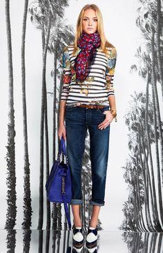 Monochrome Striped & Floral Prints Mix Shirt. Striped Print Fashion Trend for Fall Winter 2013.