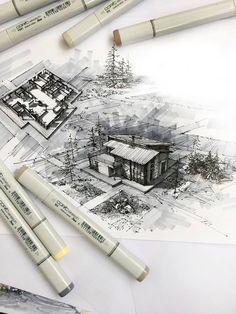 Oleg_Skukovskiy architect @archconceptforlife Cabin, Modern, Landscape Architecture, Dibujo, Scenery, Trendy Tree, Cabins, Cottage, Wooden Houses