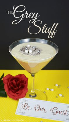 """Cocktail: """"The Grey Stuff"""" Inspired by Beauty and the Beast (Need To Try Disney Cocktails) Cocktail Desserts, Cocktail Drinks, Fun Drinks, Yummy Drinks, Mixed Drinks, Liquor Drinks, Party Drinks, Cocktail Recipes, Sonic Drinks"""