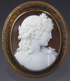 "Rare 14K Cameo of Antinous in ""Scarlet Antinous Lotus"" and Ivy Wreath"