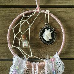 Unicorn Half Moon Pink & White Dreamcatcher by MissFancyFox