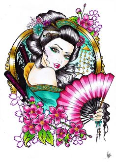 #geisha #inspired #tattoo by aura miñana
