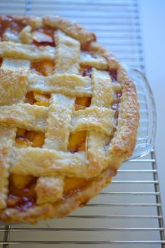 Peach pie, recipe from Cook's Illustrated, posted at Cupcakes and Cashmere (4 September 2013).